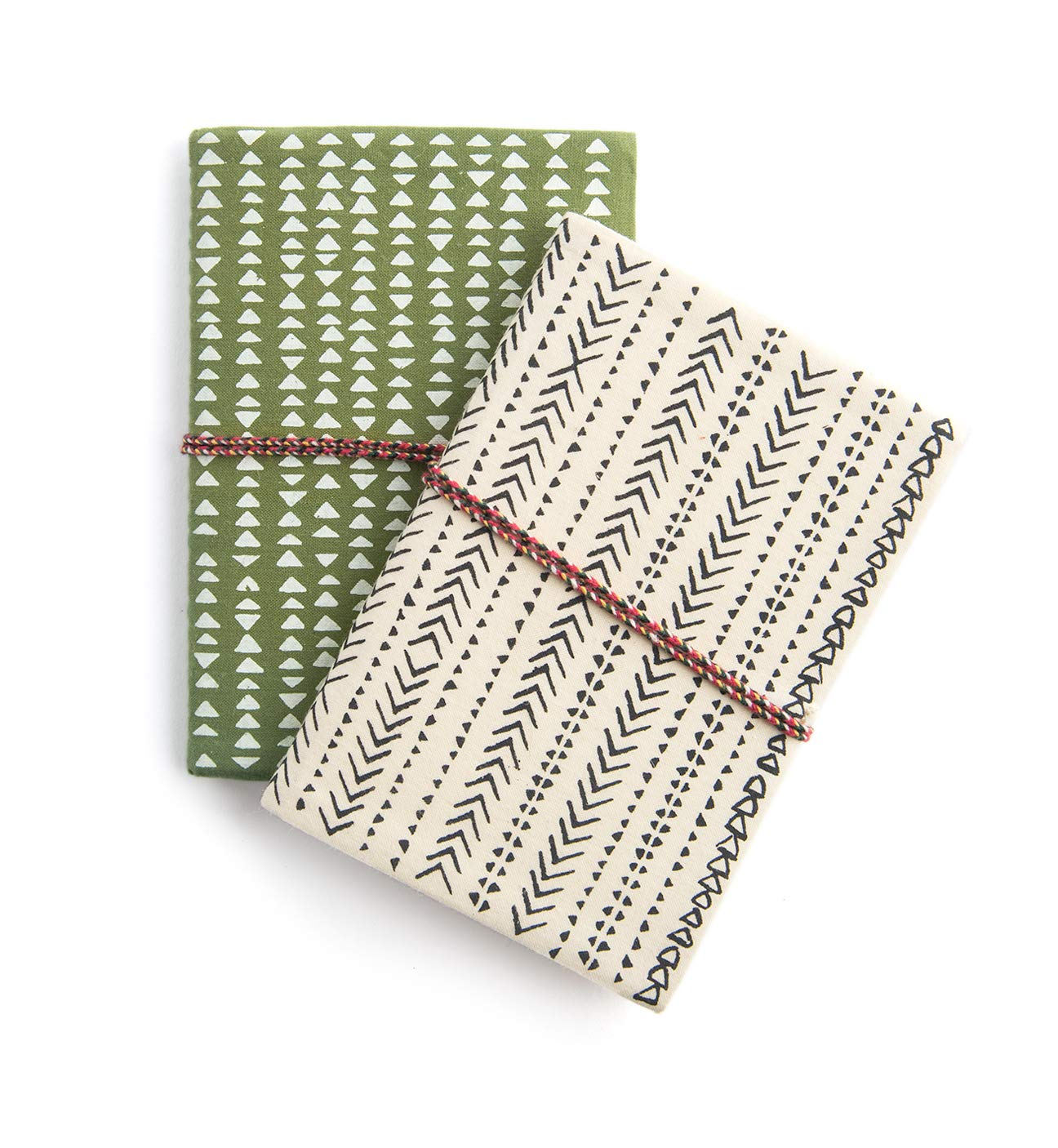 """Printfresh Softcover Fabric Notebooks, Small (4"""" x 6"""") Set of 2, Lined and Blank Writing and Drawing Journals with Braided Wraps, 80 Pages Each, Dash & Geometry - Green/Cream"""
