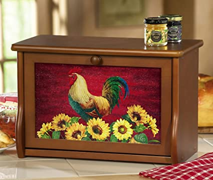 Country rooster decor wooden bread box by collections etc
