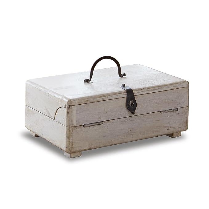 Loberon Colour blanco mesa de escritorio Didier de madera de mango ...