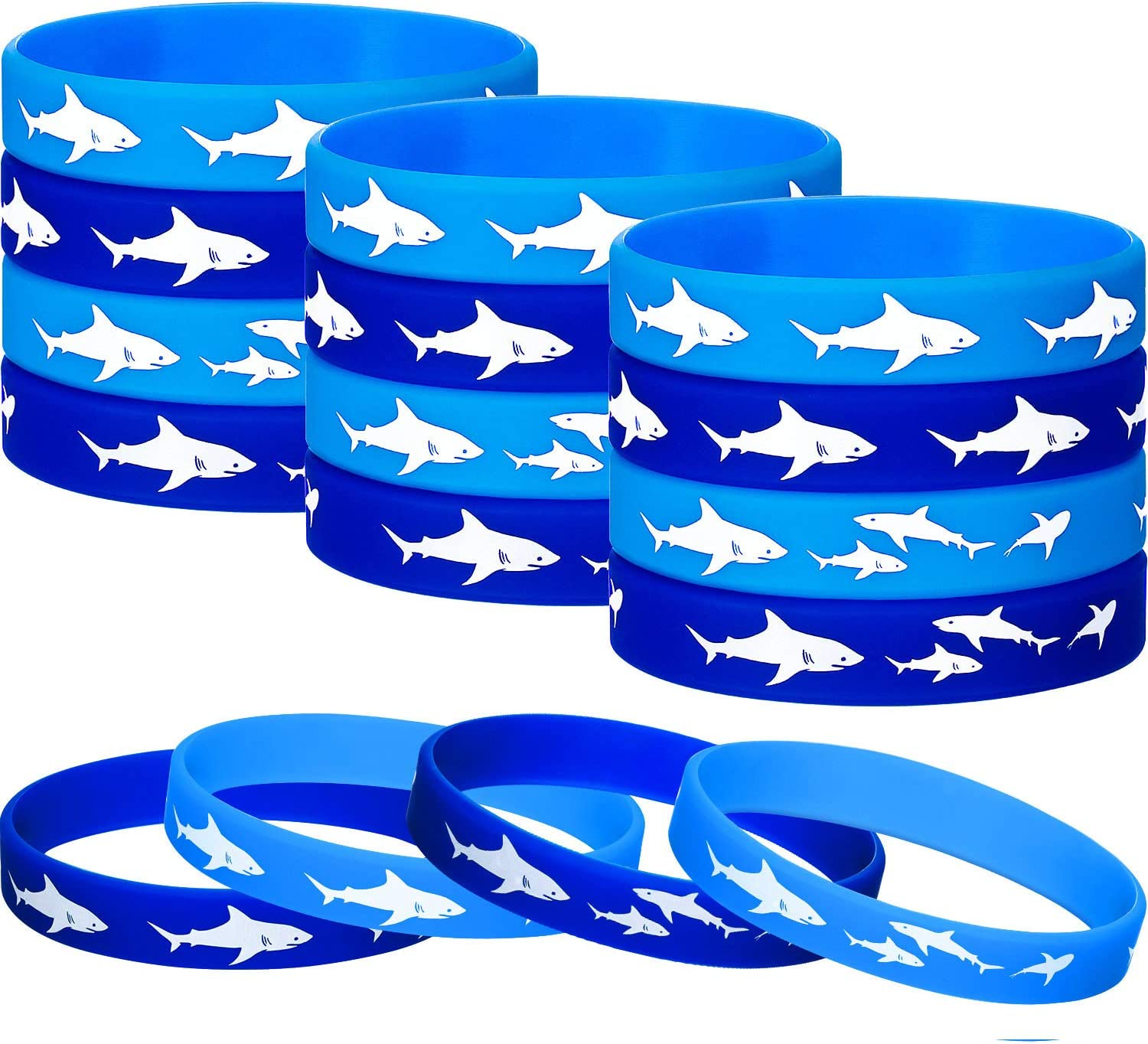 meekoo 24 Pieces Shark Party Favors Rubber Wristbands Bracelet, Under The Sea, Shark Birthday Party Favors Supplies Gift Decorations (24 Pieces)