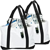 """Grocery Bag, 2 Pack BuyAgain 18"""" 600 Denier Long Term Reusable Grocery Shopping Tote Bag With Exterior Front Pocket Color White/Black."""
