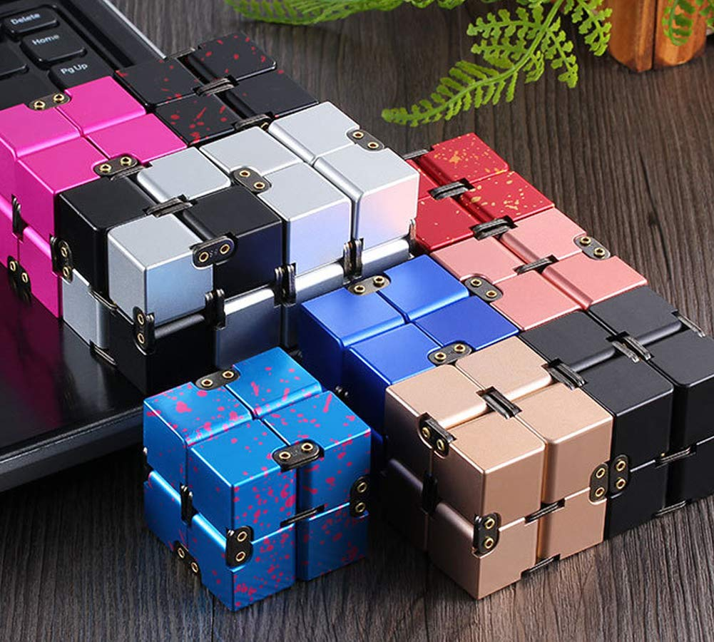 Aishankra Fidget Infinite Cube Fingertip Toy Stress Relief Compact and Easy to Carry Suitable for Adults and Children Gifts,D