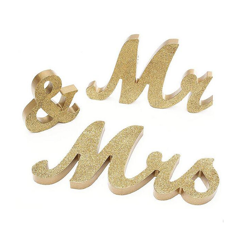 DGQ 6-Inch Gold MR & MRS Wooden Letters for Wedding Table Signs - Vintage Style Wooden DIY Decor for Wedding Decoration
