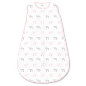 Amazing Baby Cotton Sleeping Sack with 2-Way Zipper, Tiny Elephants, Pastel Pink, Medium