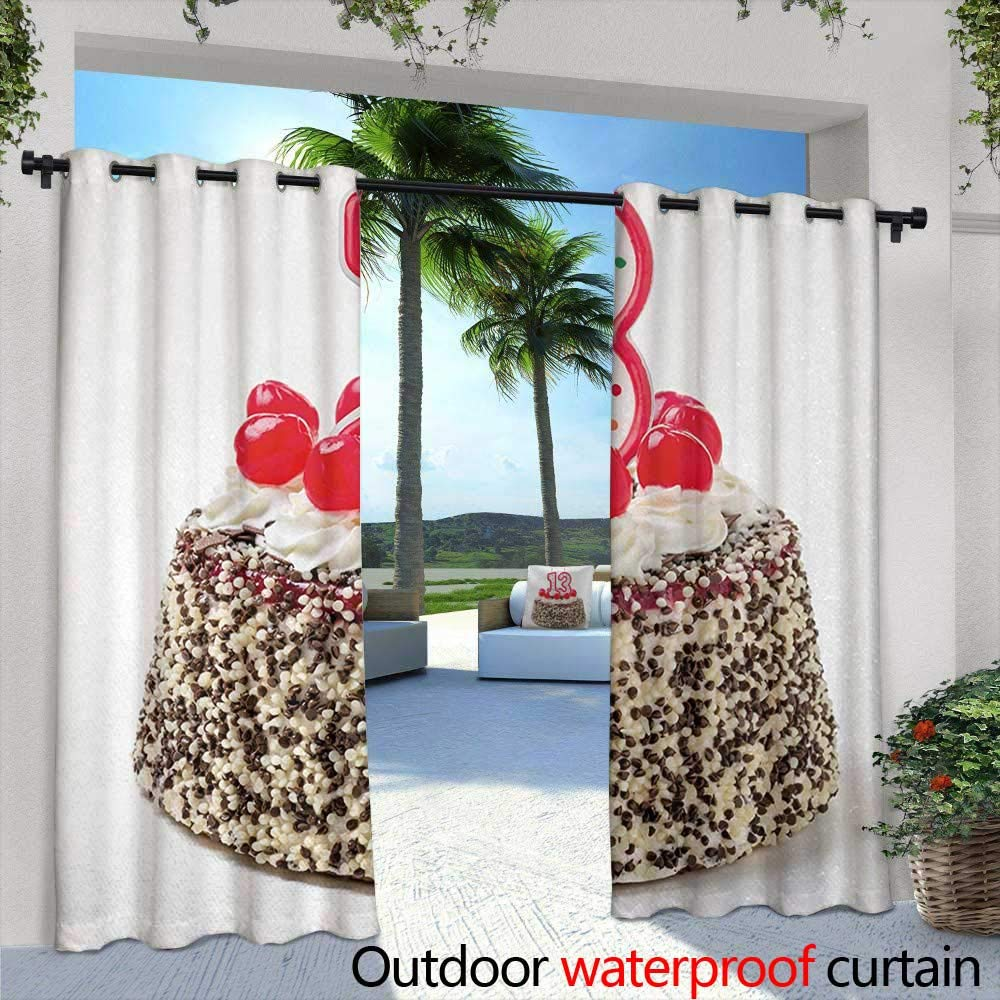 Tim1Beve Doorway Curtain 13th Birthday Cake with Numeral Candles and Cherries Yummy Tasty Desert for Party Image Simple Stylish 108'' W x 108'' L Multicolor