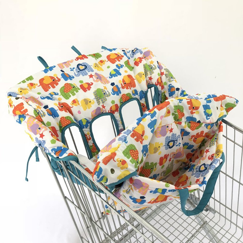 Twin Double Shopping Cart Cover for Baby Siblings 4 Leg Holes High Chair Trolley Pad Extra-Large Size- Elephant ZXYWW