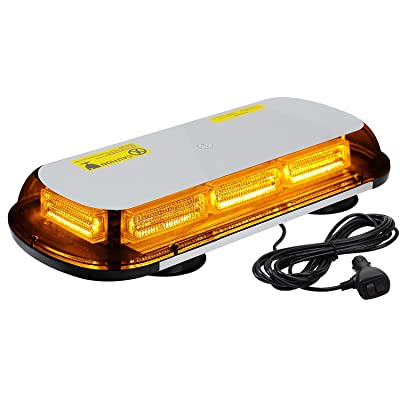 "ASPL 64LED 17"" Roof Top Strobe Lights, High Visibility Emergency Safety Warning LED Mini Strobe Light bar with Magnetic Base for 12-24V Car, Trucks, Construction Vehicles (Amber): Automotive"
