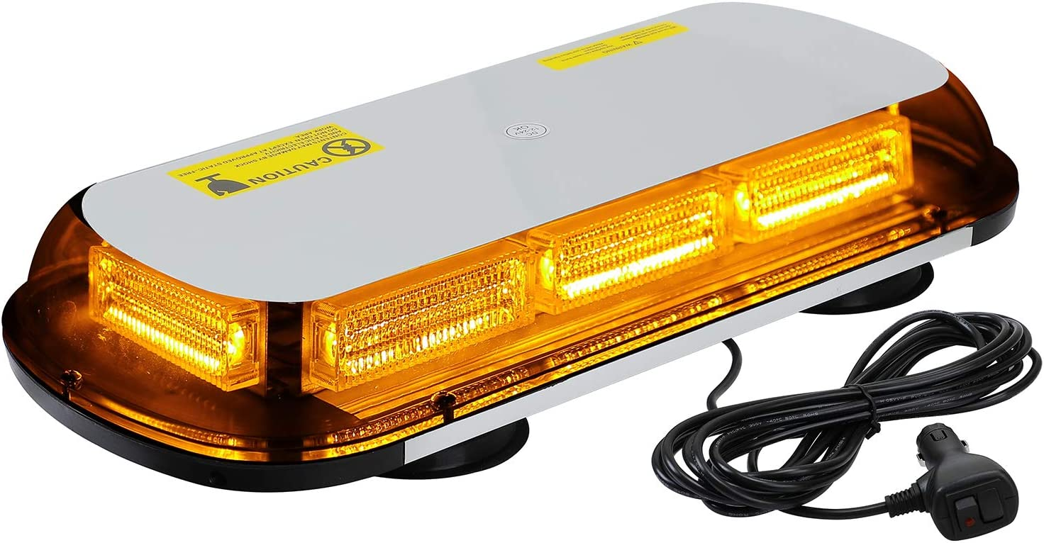 "ASPL 64LED 17"" Roof Top Strobe Lights, High Visibility Emergency Safety Warning LED Mini Strobe Light bar with Magnetic Base for 12-24V Car, Trucks, Construction Vehicles (Amber)"
