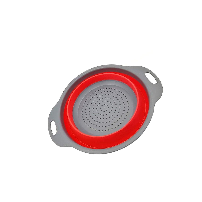 SALAKA 1 UNID Rojo Suave Silicona Fruta Vegetal Lavado Cesta Plegable Plegable Colador Cesta