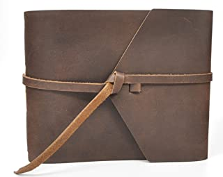 product image for Rustic Leather Guest Book - Hand-sewn with Tie Wrap & Rough Cut, Lined Pages - Dark Brown