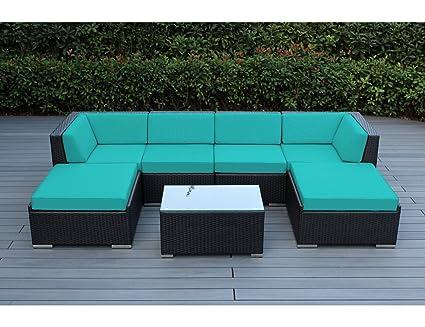 Amazon.com: Ohana - Juego de sofá seccional de mimbre para ...