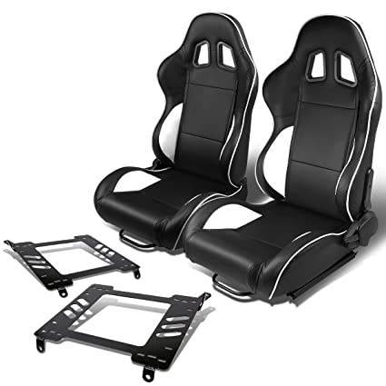 Amazon Com Pair Of Rs 021 Bk Wh Pvc Leather Reclinable Racing Seat