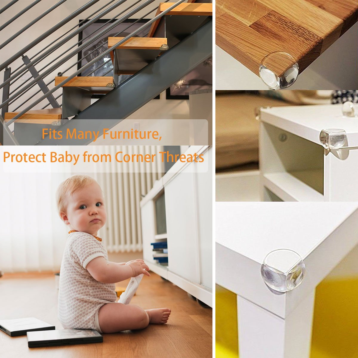 Cunina Corner Protector, 24-pack Transparent Baby Proofing Safety Corner Edge Guards, Furniture Table Sharp Corner Guard Protectors Bumper for Baby Child Kids