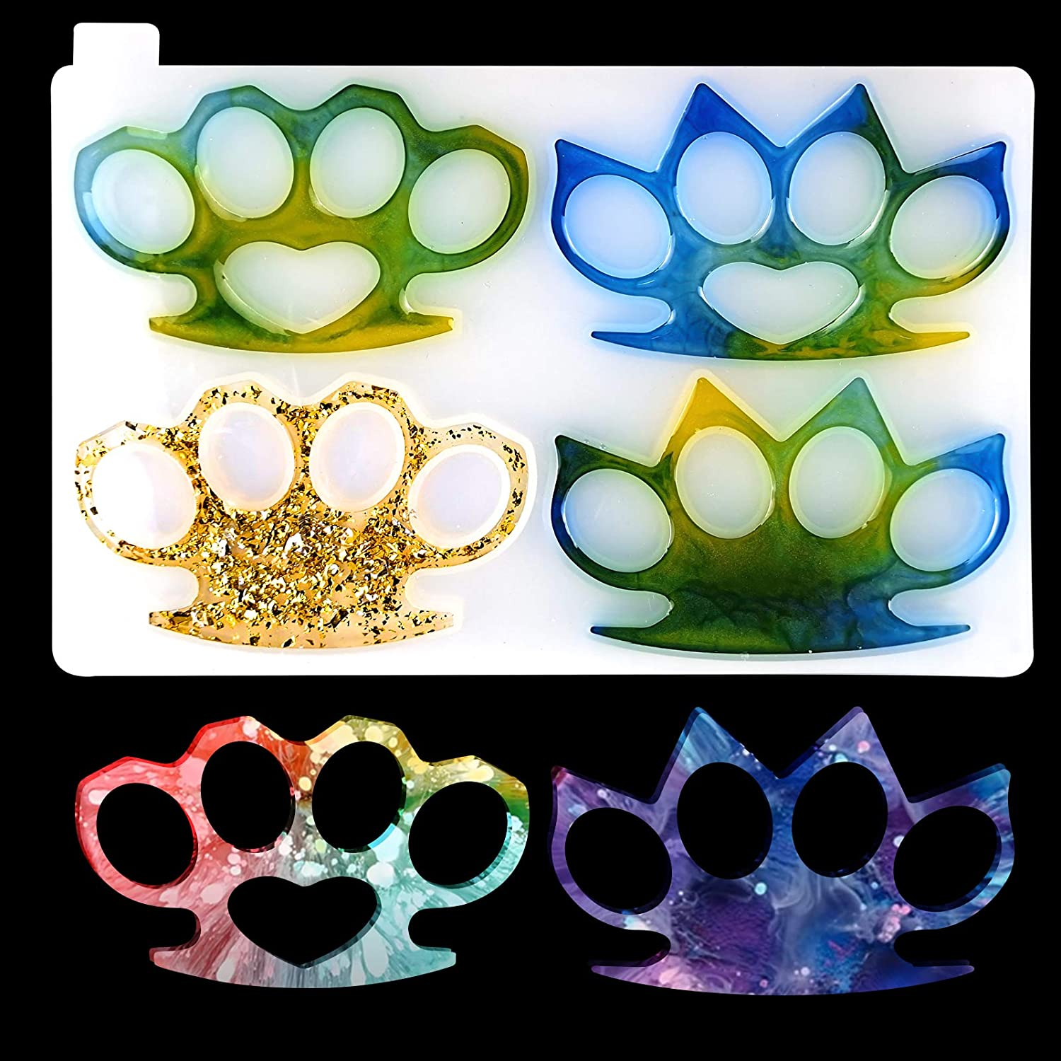 brightsen Brass Knuckles Silicone Casting Mold for Epoxy Resin Polymer Clay Casting Art Molds Reusable DIY Craft Resin Mold