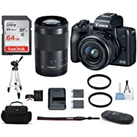 Canon EOS M50 Mirrorless Digital Camera with 15-45mm + 55-200mm Lenses -Black (USA Warranty) Bundle, Includes: 64GB SDXC Class 10 Memory Card + Full Size Tripod + Spare Battery + more ...