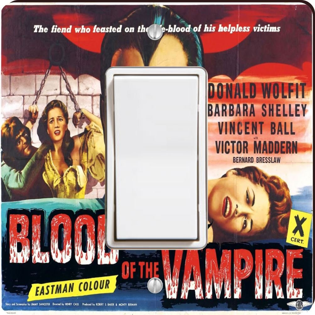 Rikki Knight 3703 Single Rocker Vintage Movie Posters Art Blood of Vampire 3 Design Light Switch Plate by Rikki Knight