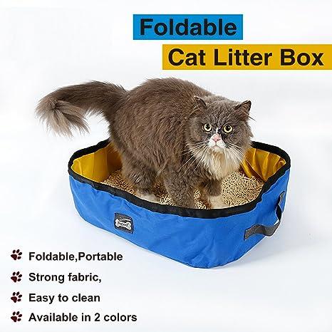 Arenero para gatos, plegable y portátil, caja de arena impermeable para mascotas, para