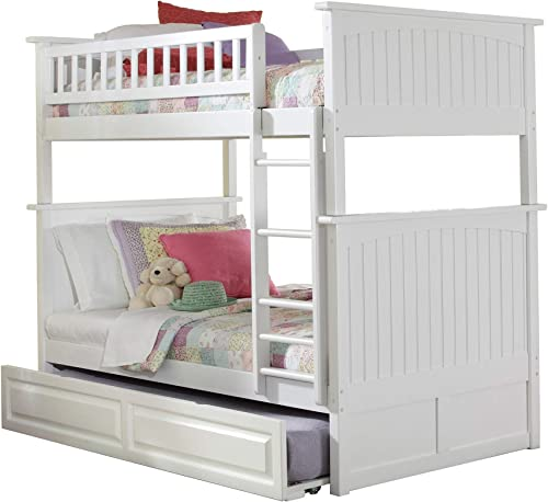 Atlantic Furniture Nantucket Bunk Twin Raised Panel Trundle Bed