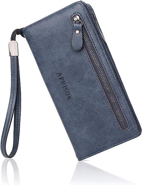 Aphisonuk Femmes RFID Bloquant petit sac à main en Cuir Carte Portefeuille avec carte de crédit