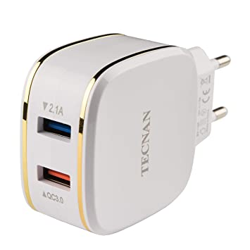 Tecnan Quick Charge 3.0 Cargador 2 USB Port Conector ...