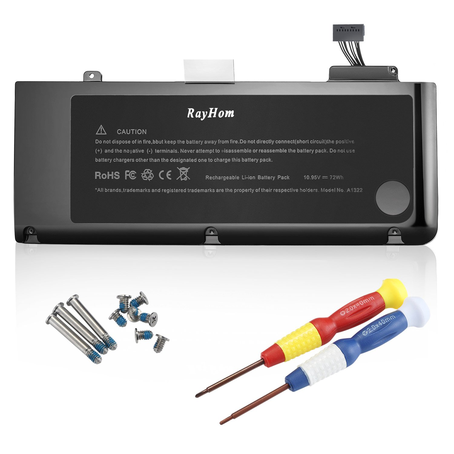 RayHom A1322 Battery for Apple Macbook Pro 13 inch A1322 A1278 Battery [2009 2010 2011 2012 Version] 661-5229 661-5557 020-6547-A 020-6765-A [18 Months Warranty 10.95V/72Wh]