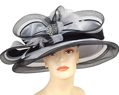 b98c36d16b3 Ms Divine Women s Wide Brim Satin Year Round Church Dress Formal Hats  H865  (Silver Black) at Amazon Women s Clothing store
