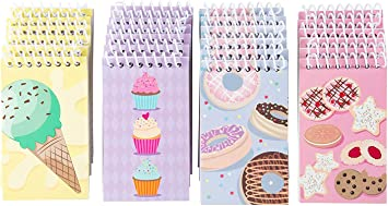 Lined Paper To-do Lists Bulk Mini Spiral Notepads for Journaling 3 x 5 Inches Spiral Notepad Note Taking 24-Pack Top Spiral Notebooks 4 Cute Dessert Designs