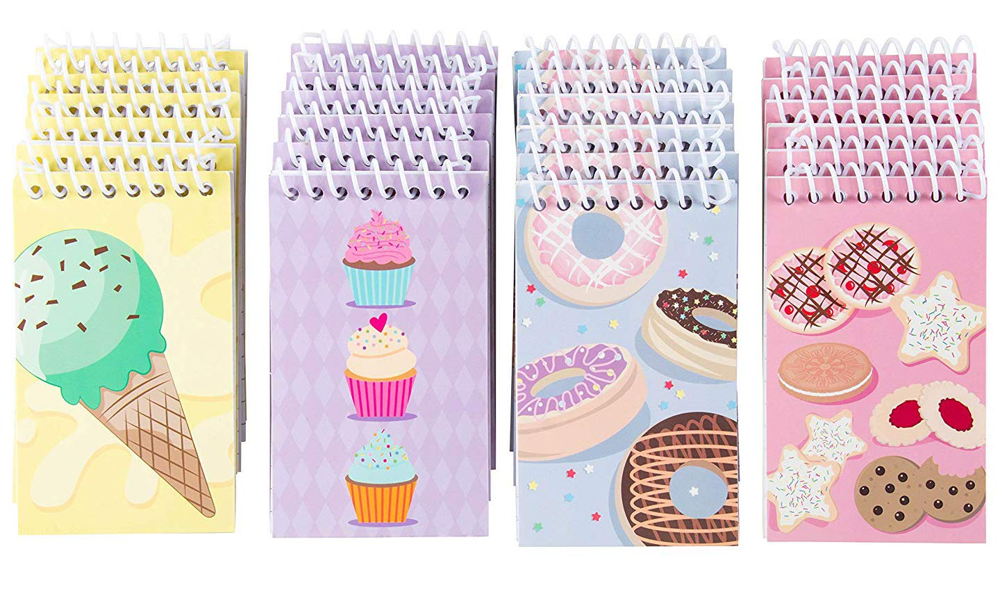 Spiral Notepad - 24-Pack Top Spiral Notebooks, Bulk Mini Spiral Notepads for Journaling, Note Taking, To-do Lists, Lined Paper, 4 Cute Dessert Designs, 3 x 5 Inches by Blue Panda