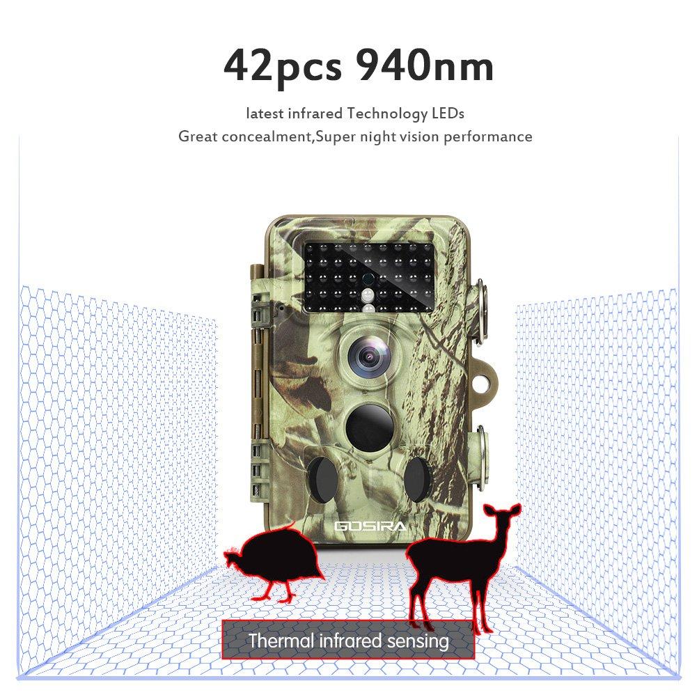Gosira Wildlife C/ámara trapeadora 16 MP-12 MP, 1080P, /ángulo de detecci/ón de 90 /°-120 /°, Tarjeta de Memoria de 32 GB