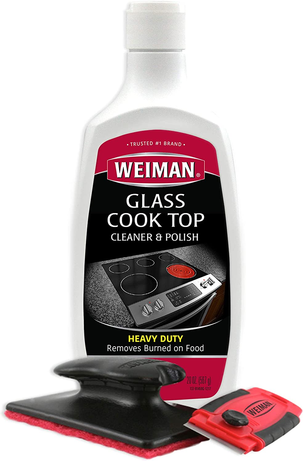Weiman Cooktop Cleaner Kit - Cook Top Cleaner and Polish 20 Ounce - Scrubbing Pad, Cleaning Tool, Cooktop Razor Scraper