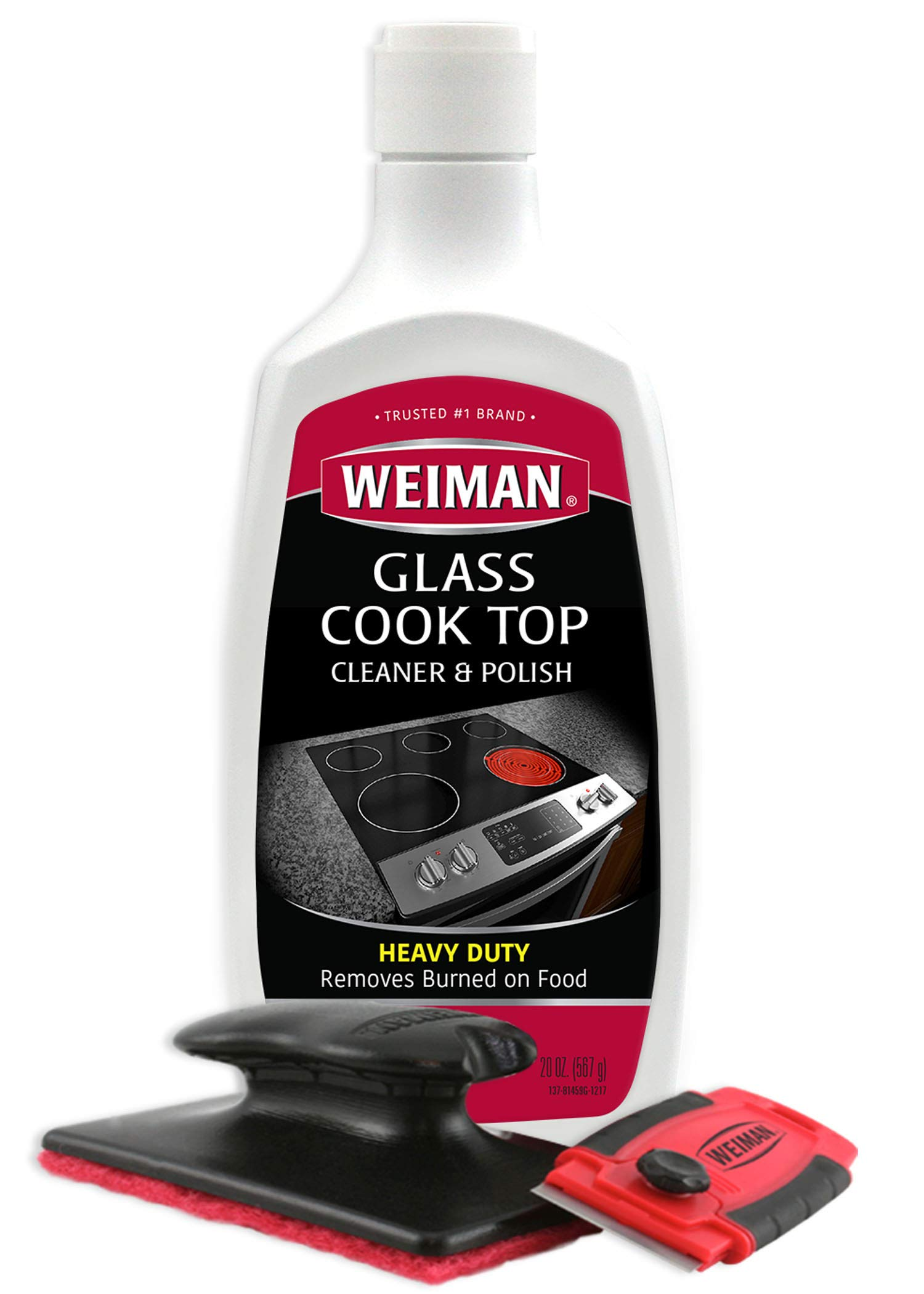 Weiman Cooktop Cleaner Kit - Cook Top Cleaner and Polish 20 Ounce - Scrubbing Pad, Cleaning Tool, Cooktop Razor Scraper by Weiman