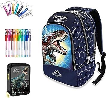 Jurassic world. Mochila Escolar Doble Azul + Estuche 3 Pisos Cremallera Completo + Llavero Silbato + Regalo 10 bolígrafos de Colores: Amazon.es: Deportes y aire libre