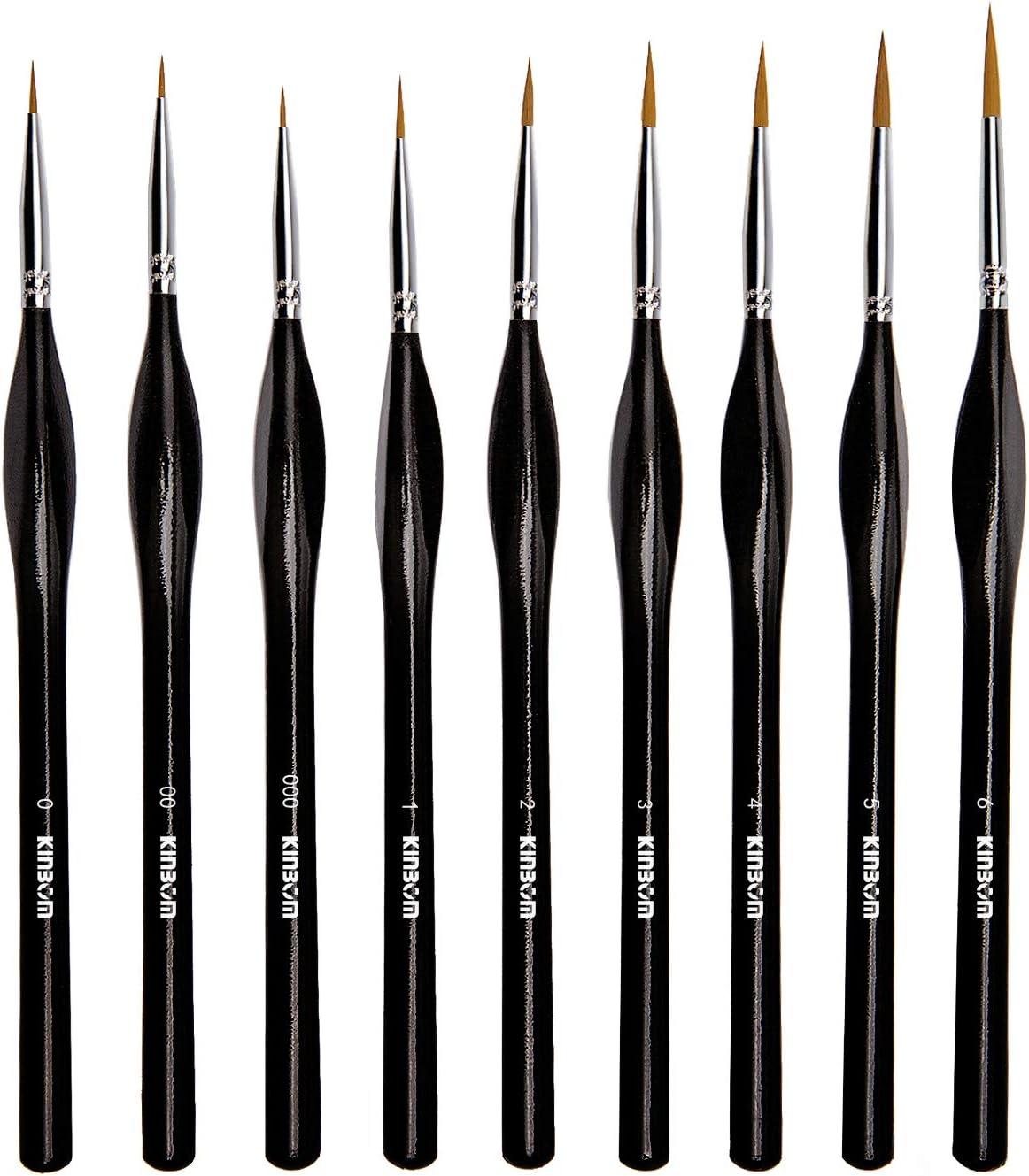 KINBOM Juego de 9 pinceles de pintura en miniatura, pincel de pintura de detalle fino, juego de brochas para acrílico, acuarela, óleo, cara, uñas, pintura de maquetas, dibujo de líneas (negro)