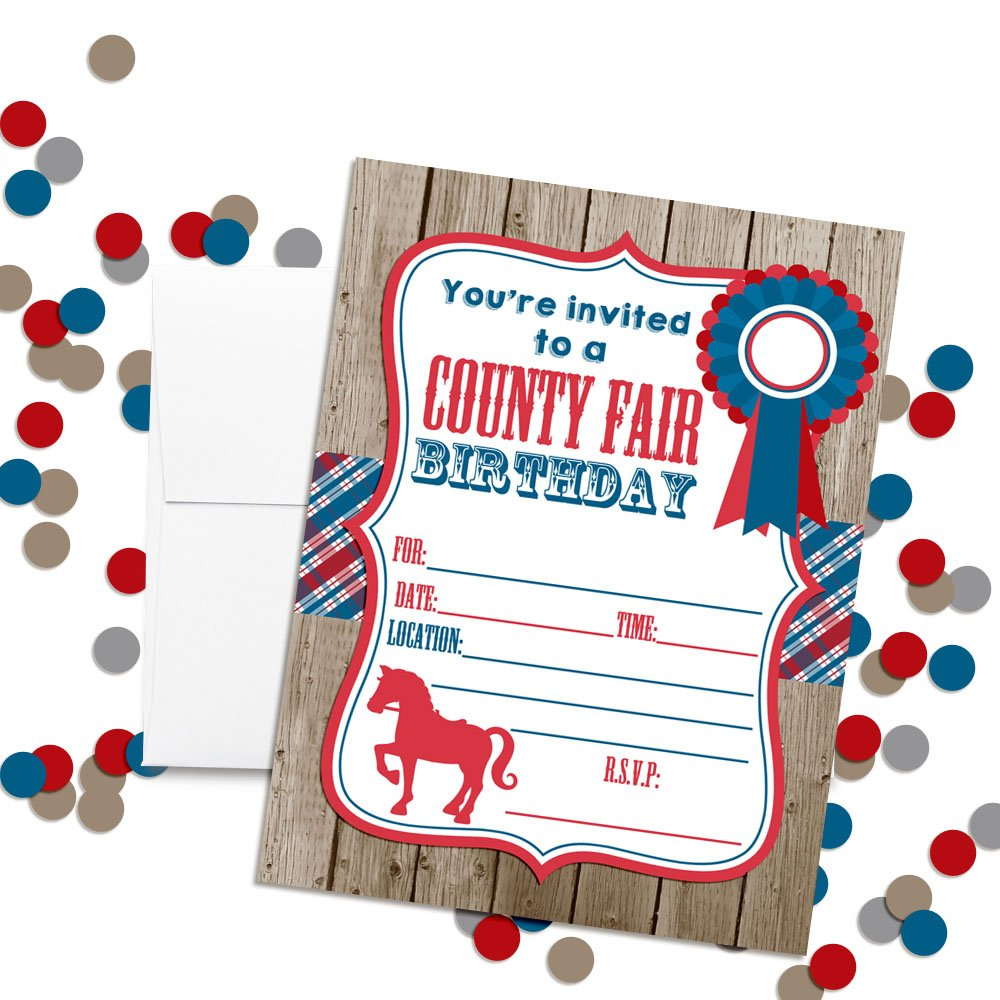 Amanda Creation County Fair with a Horse Birthday Party Fill in Invitations Set of 20 with envelopes barbeques and More Perfect for Summer Parties Family reunions Graduation