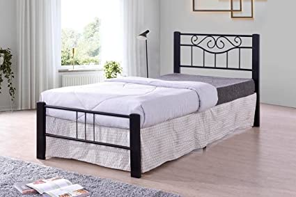 Amazon Com Black Scroll Metal Platform Bed Frame Twin Size