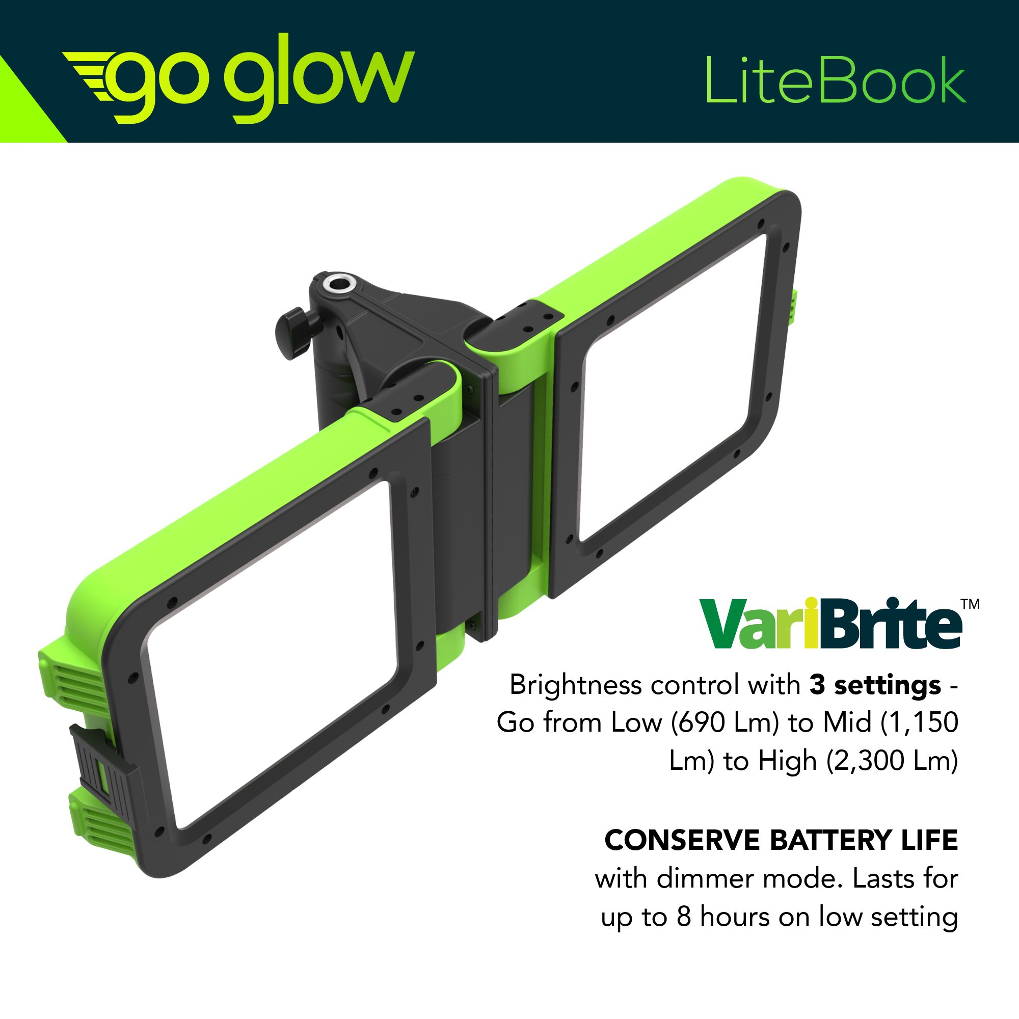 GoGlow LiteBook Bundle - Upgraded 2.0 TRIPOD INCLUDED - 30W Portable Rechargeable Day Light White Light (5000-5500k) Work Light, Camping, Garage or Auto Repair, Emergency (Green) by Enpower (Image #8)