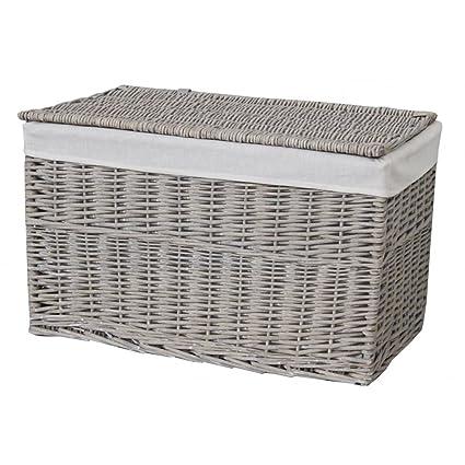 Grey Wash Wicker Storage Trunk Chest Basket Small Amazon Co Uk
