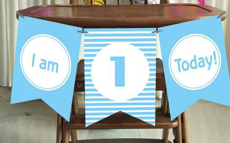 1 Year Banner Banderas para la fiesta de cumplea/ños Decoraci/ón Favores I am 1 today rosado