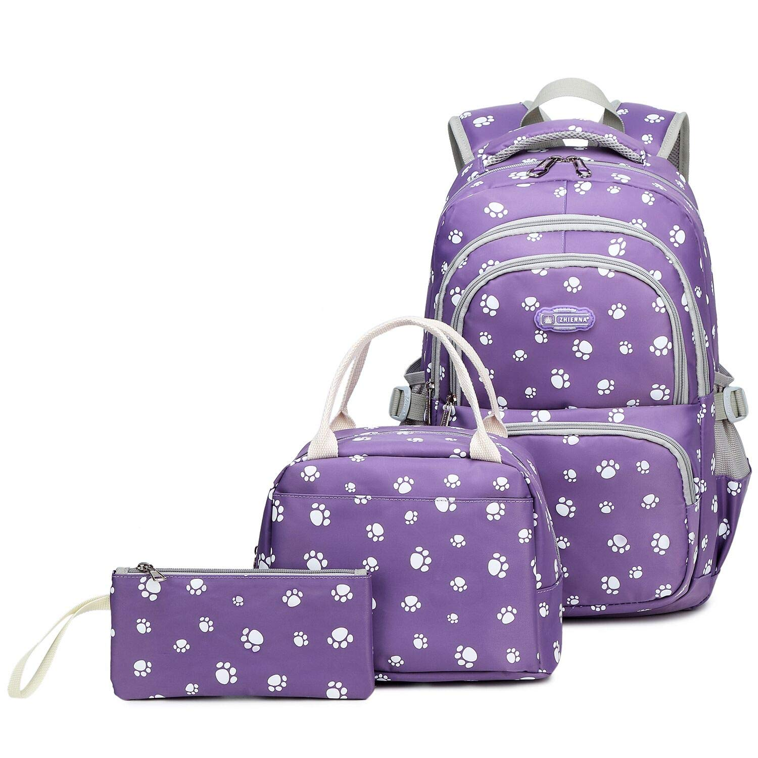 Goldwheat Girls School Backpacks with Lunch Bag and Pencil Case Kids Pawprint Bookbag 3 in 1 (Purple) by goldwheat