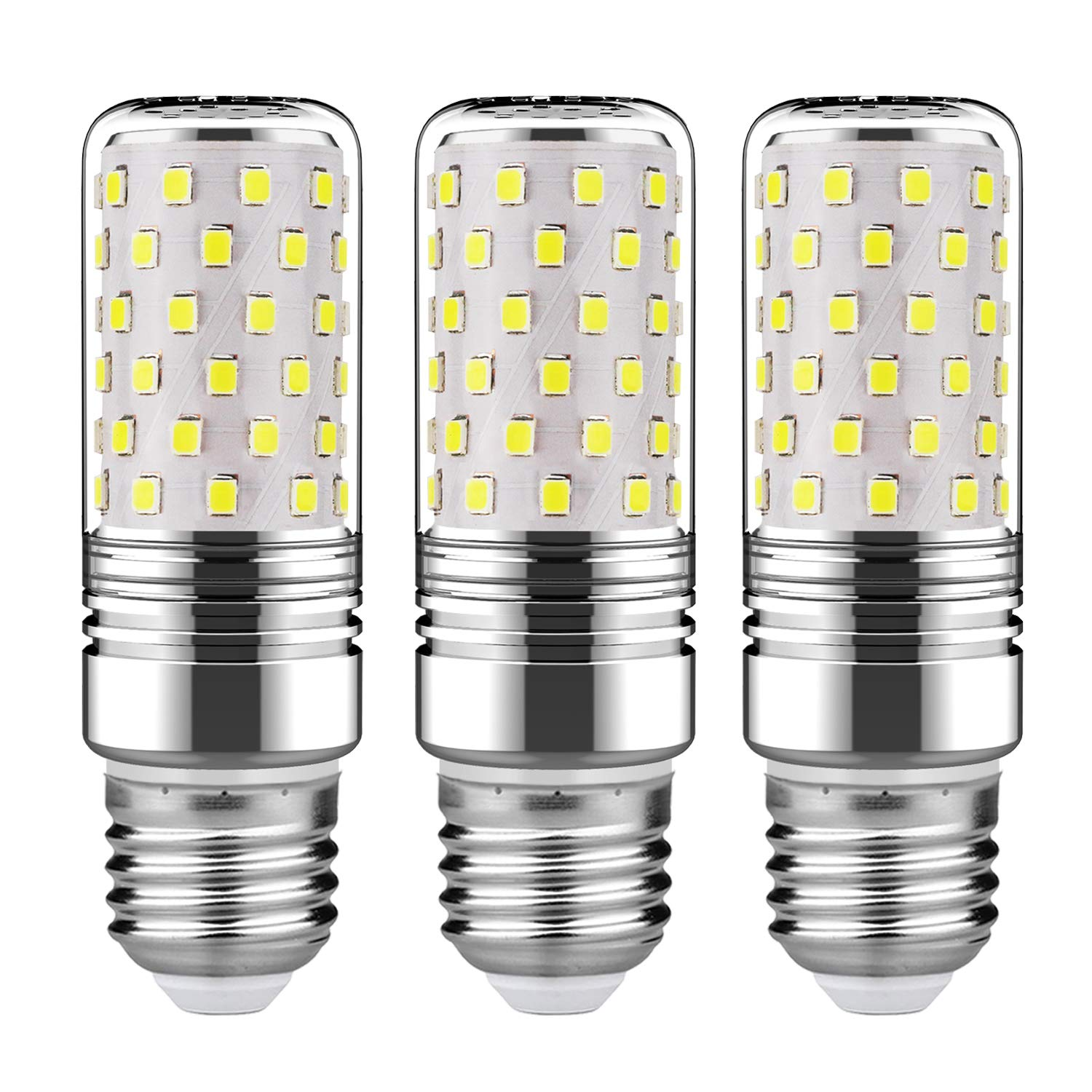 GEZEE 15W LED Cylindrical Bulb, E26 LED Candelabra Light Bulbs 120 Watt Equivalent,1500lm, Daylight White 6000K LED Chandelier Bulbs, Non-Dimmable LED Lamp(3-Pack)