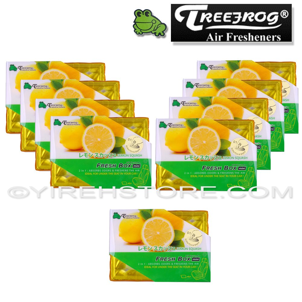 9 Packs TreeFrog FRESH BOX MINI (aka Xtreme Fresh Mini) Lemon Squash Scent Premium JDM Air Freshener