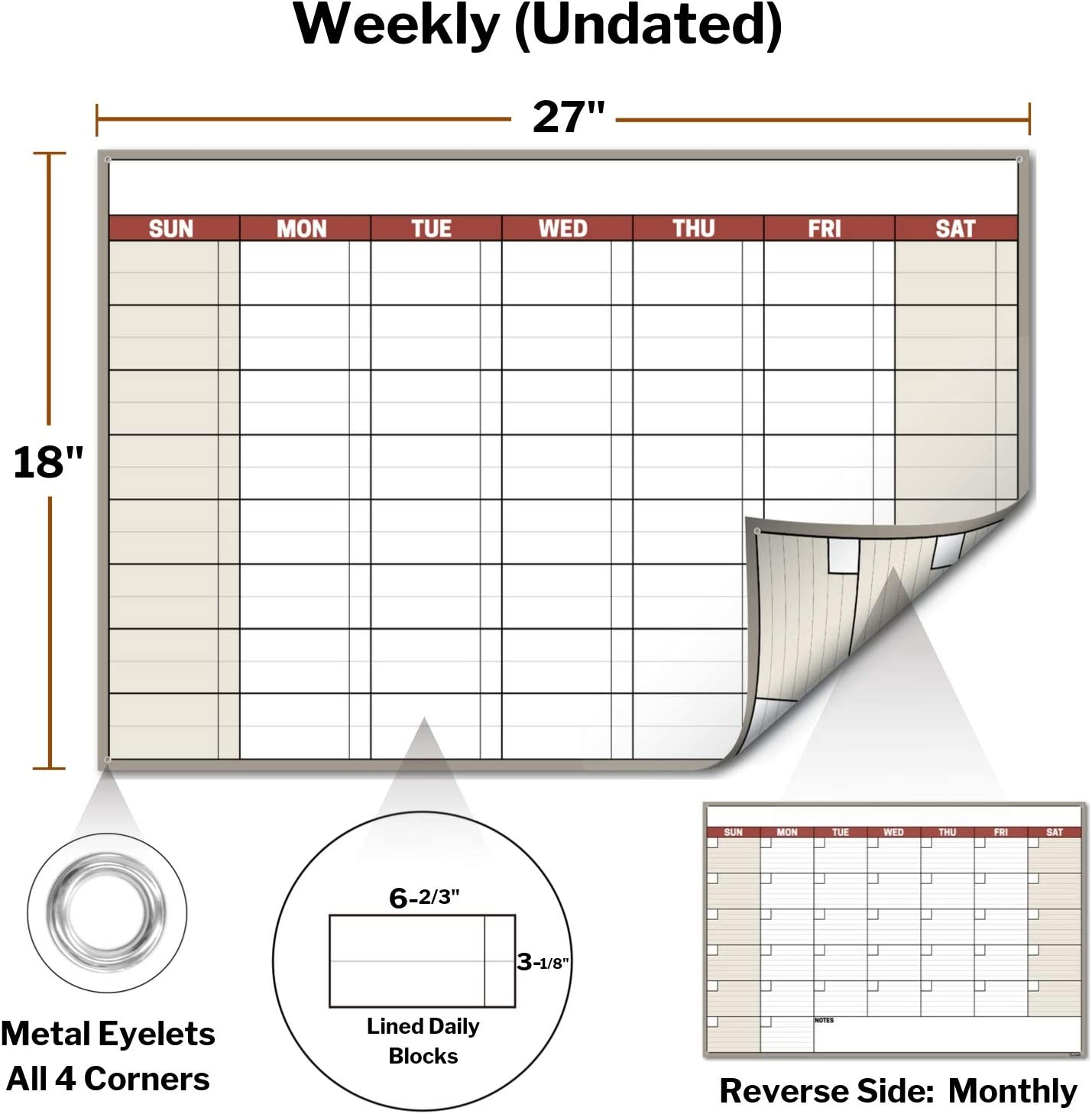 Laminated Paper Wall Poster Calendar Reversible Reusable Wet and Dry Erase Monthly Weekly Planner 18x27 Erasable Undated Monthly Calendar for Wall Shipped Rolled Not Folded Brown
