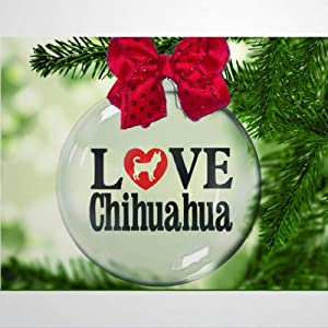 DONL9BAUER Christmas Balls Ornaments Love Chihuahua Xmas Tree Hanging Ball Dog Lover, Rescue, Adopt, Animal Lover Shatterproof Christmas Decorations for Holiday Wedding Party
