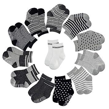12 Pairs Baby /& Toddler 0-12 Crew High Sports Socks Black White boys girls Kid/'s