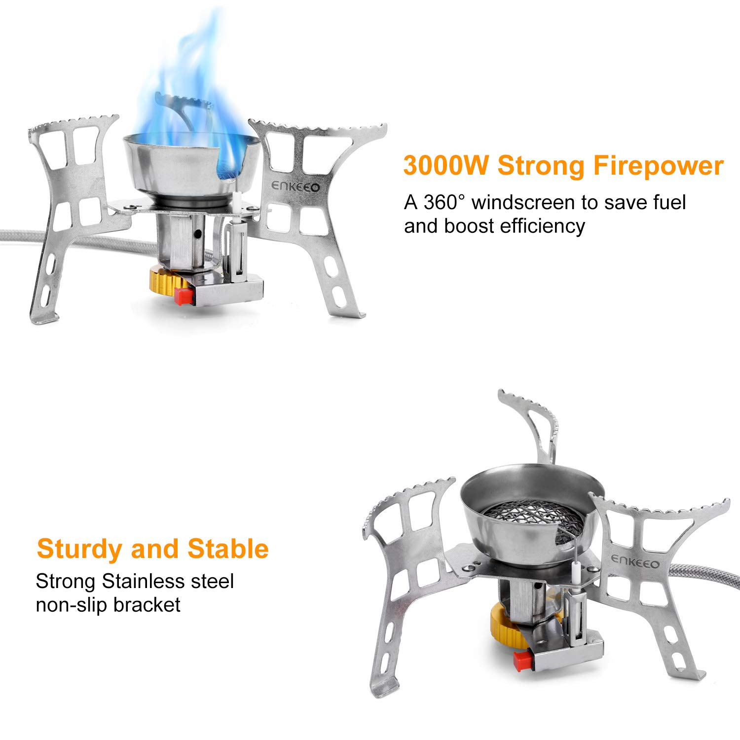 Pocket Size for Outdoor Camp Kitchen ENKEEO 3000W Windproof Camping Stove Foldable Backpacking Stoves Ultralight Portable Gas Cooker with Piezo Ignition Hiking and Traveling