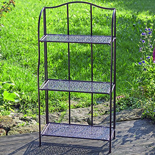The Grammercy Bakers Rack, Woven Metalwork Shelves, Romantic Vintage Style, Bronze Black Rust Resistant Metal, 22 ¾ L x 9 ¾ W x 45 ¾ H Inches,Fold and Go, By Whole House Worlds