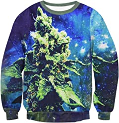 ZURIC Blue Dream Crewneck Sweatshirts Weed Leaf Galaxy Long Sleeve Sweats
