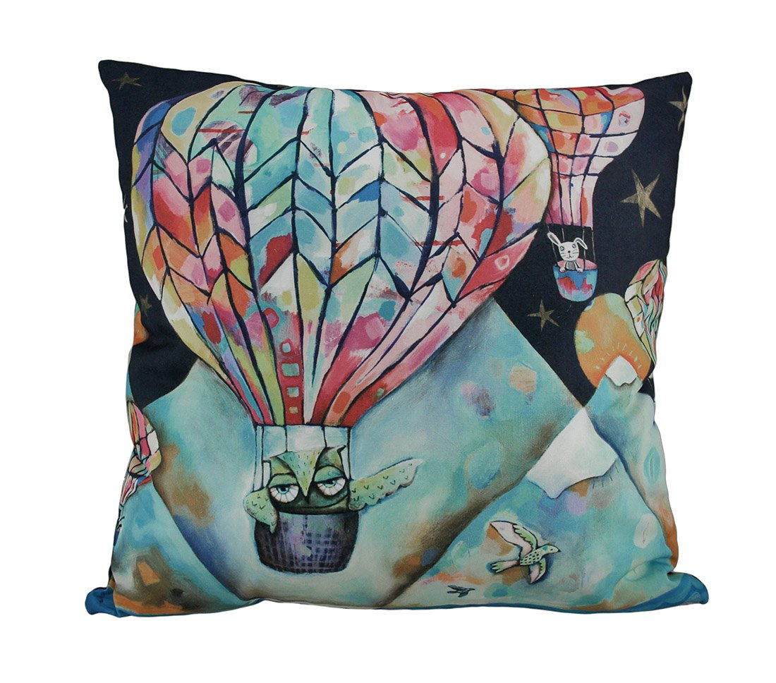 Allen Designs Flight Of The Animals Hot Air Balloon Throw Pillow 17 Inch