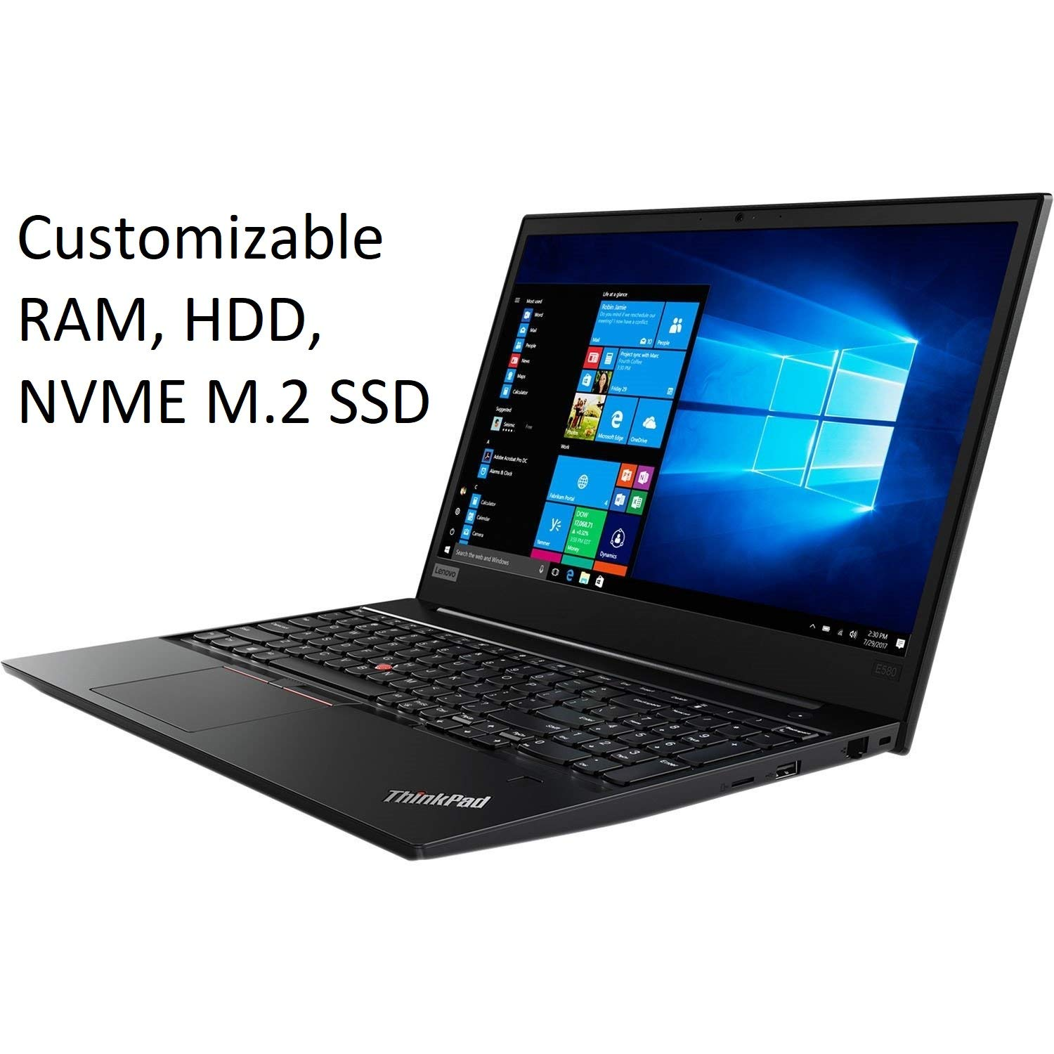 "Lenovo ThinkPad E580 15.6"" HD Business Laptop (Intel Core i5-7200U, Fingerprint, USB Type-C, WiFi AC, Webcam, Windows 10 Pro) - Choose 8GB 16GB 32GB DDR4 RAM, 256GB 512GB 1TB NVMe PCIe M.2 SSD or HDD"