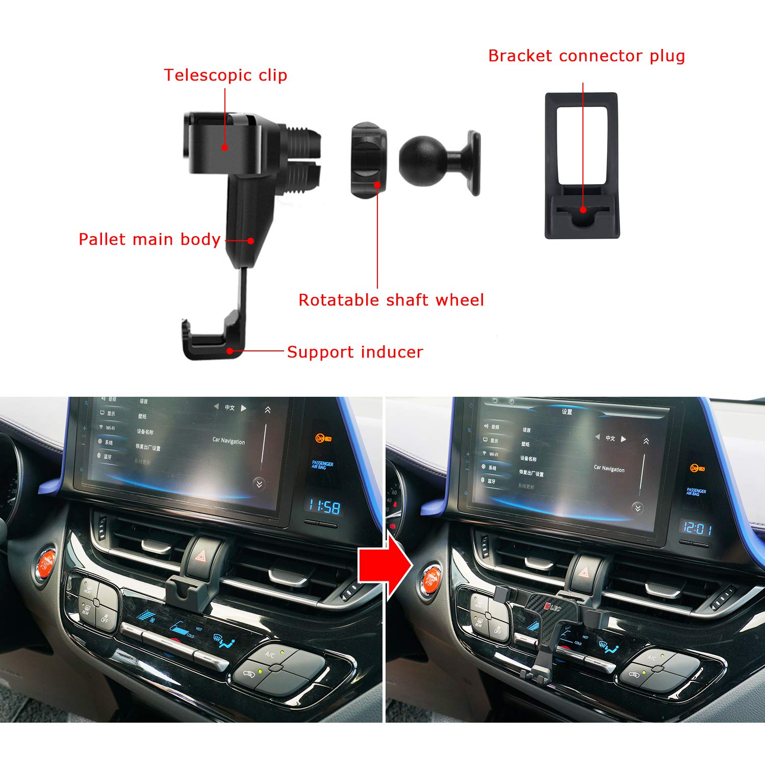 R RUIYA 2018 Toyota CHR Smartphone Cell Phone Mount Holder with Adjustable Air Vent Clip Cover Fit for 3.5-6.0 Inches Phone